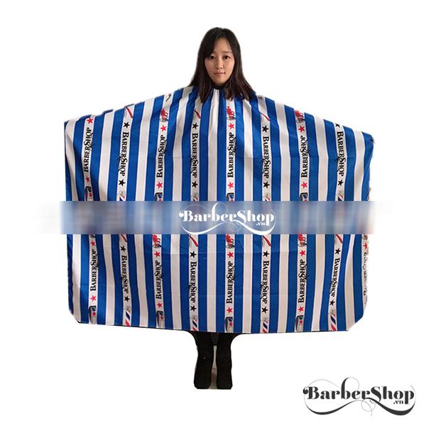 Áo choàng sọc trắng xanh Barbershop
