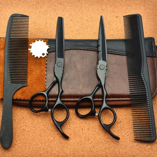 Bộ kéo cắt tóc Barber WOLF đen BW-602
